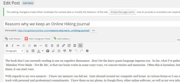 Online Hiking Journals