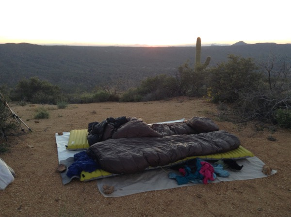 Katabatibc Quilts laid out for a good night's sleep on the Arizona Trail in 2015