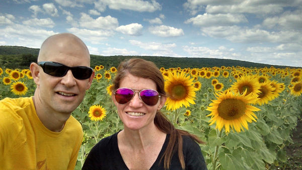 On a walk through the sunflower fields in Moldova